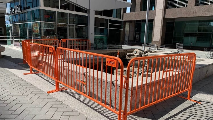 steel barricades for construction site perimeter security
